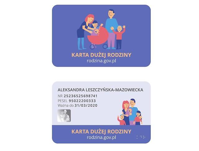 Wzór karty dużej rodziny. Fot. mpips.gov.pl